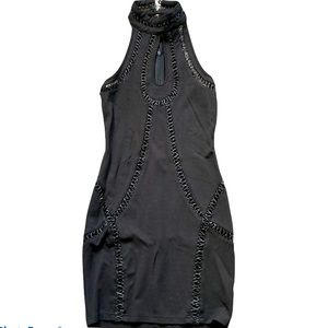 Size 8 black dress, with faux leather stitching